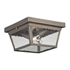 Springfield 2 Light Exterior Flush Mount In Antique Nickel
