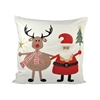 Santa And Friends 20x20 Pillow, Snow,Coco,Ribbon Red
