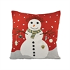 Snowman 20x20 Pillow, Ribbon Red,Snow
