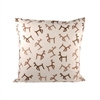 Dancing Reindeer 20x20 Pillow, Crema,Dark Earth,Coco
