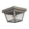 Springfield 2 Light Exterior Flush Mount In Dark Pewter