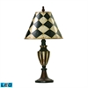 "Dimond 29"" Harlequin & Stripe Urn LED Table Lamp in Black and Antique White"