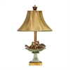Love Birds In Bath Table Lamp in Gold Leaf and Green