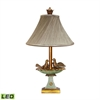 Love Birds In Bath 1 Light LED Table Lamp in Gold Leaf And Grantsmoth Green