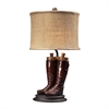 "22"" Wood River Table Lamp in Polished Tan"