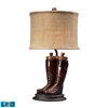 Wood River LED Table Lamp in Polished Tan