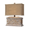 Pinder Distressed Table Lamp in Corbel Finish With Burlap Shade