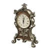 Sterling Desk Clock In Antique Silver And Chestnut