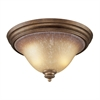Lawrenceville 2 Light Flushmount In Mocha And Antique Amber Glass