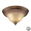 Lawrenceville 2 Light Flushmount In Mocha And Antique Amber Glass - Includes Recessed Lighting Kit