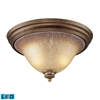 ELK lighting Lawrenceville 2 Light LED Flushmount In Mocha And Antique Amber Glass
