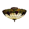 Grapevine 3 Light Semi Flush In Vintage Antique With Stained Glass