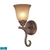 ELK lighting Lawrenceville 1 Light LED Wall Sconce In Mocha With Antique Amber Glass