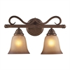 ELK lighting Lawrenceville 2 Light Vanity In Mocha With Antique Amber Glass