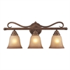 ELK lighting Lawrenceville 3 Light Vanity In Mocha With Antique Amber Glass