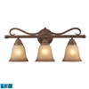 Lawrenceville 3 Light LED Vanity In Mocha With Antique Amber Glass