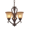 ELK lighting Lawrenceville 3 Light Chandelier In Mocha With Antique Amber Glass