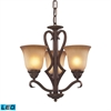 ELK lighting Lawrenceville 3 Light LED Chandelier In Mocha With Antique Amber Glass