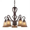 ELK lighting Lawrenceville 5 Light Chandelier In Mocha With Antique Amber Glass