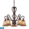 ELK lighting Lawrenceville 5 Light LED Chandelier In Mocha With Antique Amber Glass