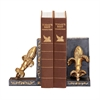 Sterling Pair French Fleur Bookends