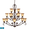 ELK lighting Lawrenceville 15 Light LED Chandelier In Mocha With Antique Amber Glass