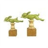 Set of 2 Running Rabbit Finials