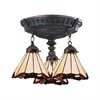 ELK lighting Mix-N-Match 3 Light Semi Flush In Aged Walnut And Honey Dune Glass