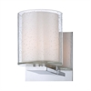 Combo 1 Light Vanity In Chrome And Clear Stromboli Outer Glass With White Opal Inner Glass
