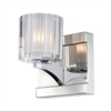Tiara 1 Light Vanity In Chrome And Slotted Clear Glass