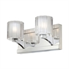 Tiara 2 Light Vanity In Chrome And Slotted Clear Glass