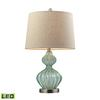 "Dimond 25"" Smoked Glass LED Table Lamp in Pale Green"