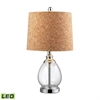 "Dimond 22"" Clear Glass LED Table Lamp in Polished Chrome"