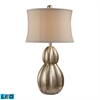 Marion LED Table Lamp In Antique Silver Leaf With Nanty White Shade