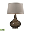 Water Glass LED Table Lamp Coffee Smoke With Taupe Shade
