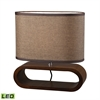 "Dimond 12"" Oval Wooden LED Table Lamp in Natural Stain"