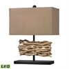 Natural Driftwood LED Table Lamp in Black With Caramel Shade