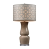 "27"" High Gloss Ceramic Table Lamp in Taupe"