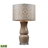 Gloss Ceramic LED Table Lamp in Taupe With Off White Shade