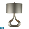 Carolina LED Table Lamp In Silver Leaf With Metallic Silver Shade