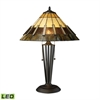 "23"" Porterdale Tiffany Glass LED Table Lamp in Tiffany Bronze"