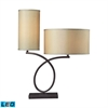 Greenwich LED Table Lamp In Aged Bronze With Light Gold Shade