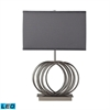 Ekersall LED Table Lamp In Chrome With Grey Faux Silk Shade
