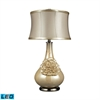 Elenaor LED Table Lamp In Pearlescent Cream Finish With Cream Shade