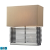 Andros Slatted LED Table Lamp In Chrome With Light Beige Shade