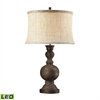 Westbridge Wooden LED Table Lamp With Hand Woven Natural Linen Shade