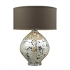 Limerick Ceramic Table Lamp In Turrit Gloss Beige With Brown Linen Shade