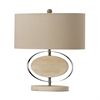 "Dimond 19"" Hereford Bleached Wood Table Lamp in Chrome"