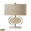 Hereford Bleached Wood LED Table Lamp in Chrome
