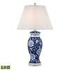 "Dimond 28"" Blue & White Ceramic LED Table Lamp in Handpainted Blue and White"